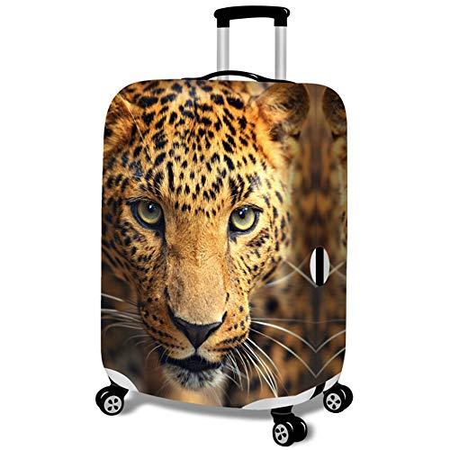 MISSMAO_FASHION2019 Kofferhülle Kofferschutzhülle Gepäck Cover Reisekoffer Hülle Koffer Schutzhülle,Muster Löwe und Leopard Leopard M(Fit 22-24 Zoll Koffer)