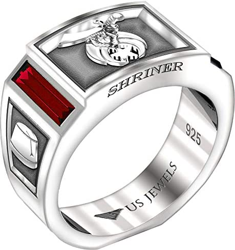 US Jewels Men s 8mm 0 925 Sterling Silver Shriner Simulated Ruby Masonic Ring Band Size 10 product image