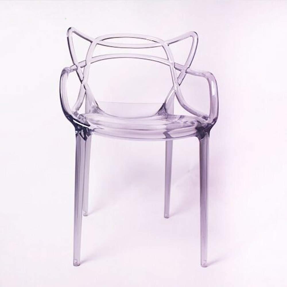 Silla De Plástico Transparente,silla De Barra De Acrílico Moderna De Cristal Con Creative Cat Back,silla De Jardín De Ratán De Plástico Transparente Para El Hotel Café Bar Al Aire Libre Transparente: Amazon.es: