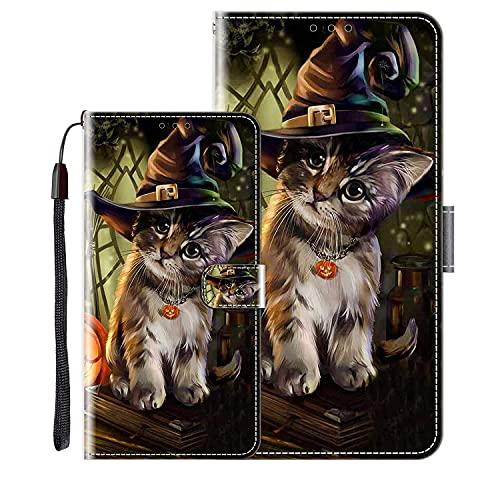 vingarshern Klapphüllen für Wiko View 4 Lite Schutzhülle Mit Magnetverschluss Flip Etui Lederhülle Handytasche Wiko View4 Lite Hülle Klappbares Leder Brieftasche,Katze Muster-3