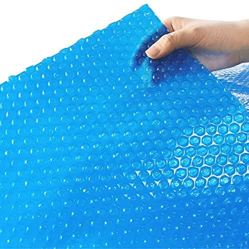 Lona alquitranada Cubierta de Piscina Solar Rectangular, 100cm/200cm/300cm/400cm/500cm de Ancho Lona Azul Impermeable con Ojales, para Calefacción de Piscinas sobre el Suelo
