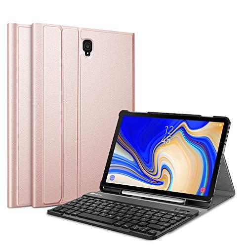 Fintie Tastatur Hülle für Samsung Galaxy Tab S4 T830 / T835 (10.5 Zoll) 2018 Tablet-PC - Ultradünn Schutzhülle mit magnetisch Abnehmbarer drahtloser Deutscher Bluetooth Tastatur, Roségold