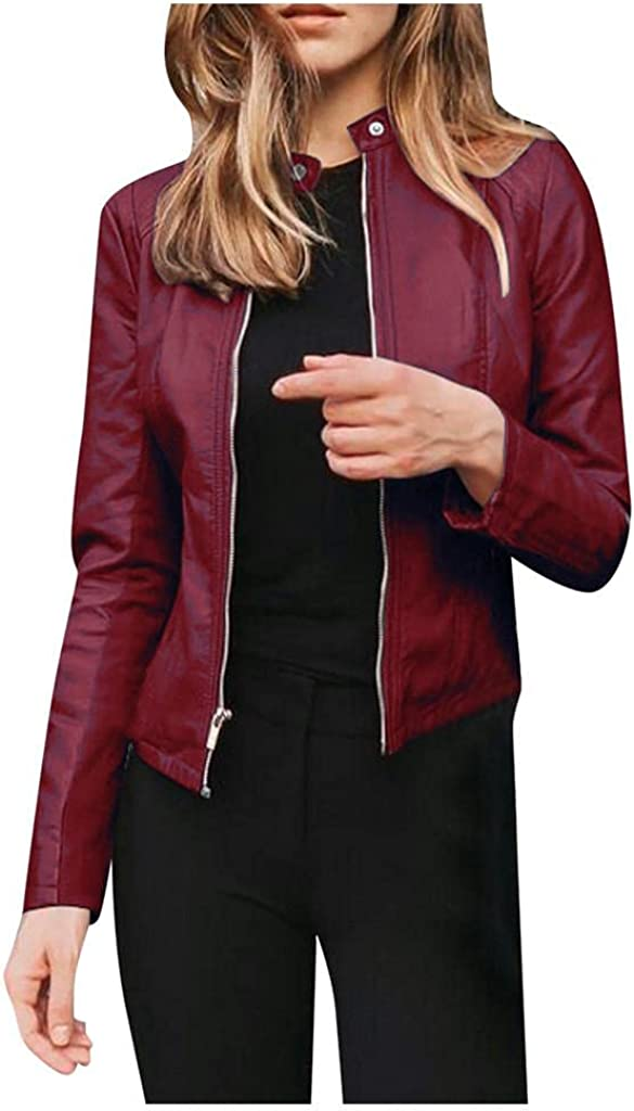 Faux Leather Jacket Challenge the lowest price of OFFicial store Japan ☆ Women Bomber Long Cropped Slee