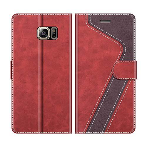 MOBESV Handyhülle für Samsung Galaxy S6 Edge Plus Hülle Leder, Samsung Galaxy S6 Edge Plus Klapphülle Handytasche Hülle für Samsung Galaxy S6 Edge Plus Handy Hüllen, Rot