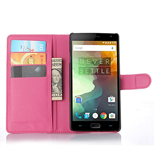 Ycloud Tasche für OnePlus Two Hülle, PU Ledertasche Flip Cover Wallet Hülle Handyhülle mit Stand Function Credit Card Slots Bookstyle Purse Design Rose Red