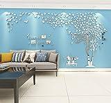 Árbol Pegatinas de Pared 3D Árbol Familia Marco de Fotos DIY Murales Stickers Decoración para Salón, Dormitorio, Oficina, Habitación Pegatinas Pared(3 Plata Derecha,XL-400*200cm)