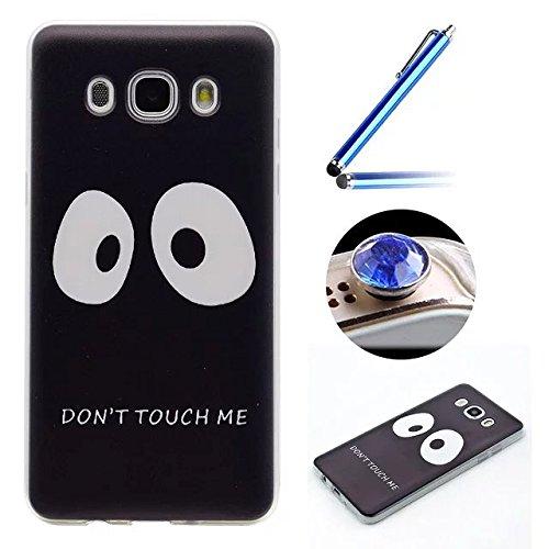 [Samsung Galaxy J5(2016)] Coque Housse de Téléphone,Etsue Mode Fashion Coque Silicone étui à Téléphone pour Samsung Galaxy J5(2016),Samsung Galaxy J5(2016) Doux Souple Coque en Thin Ultra-Mince TPU ,Transparent Protection des Coque Couverture Case Cover pour Samsung Galaxy J5(2016) + 1 x Bleu stylet + 1 x Bling poussière plug (couleurs aléatoires)- Don't Touch Me