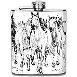 Refresque la pintura del caballo blanco y negro Retro portátil de acero inoxidable a prueba de fugas Alcohol Whisky Licor Wine Pot Frasco de cadera
