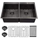33 Black Drop In Kitchen Sink- Lordear 33 inch Topmount/Overmount 16 Gauge Stainless Steel Gunmetal Black Double Bowl 50/50 Drop Kitchen Sink Basin
