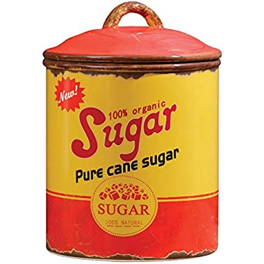 YOUR HEARTS DELIGHT BY AUDR Retro Ceramic Sugar Canister w/Intentionally Distressed Rusted Tin Look