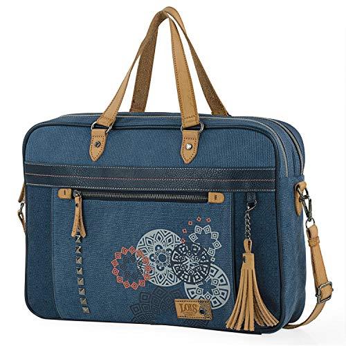 Lois - Bolso maletin Portatil para Trabajo Mujer. Portadocumentos Ordenador 15 6 Pulgadas. Piel PU y Lona con Asa Bandolera Desmontable 310539, Color Azul