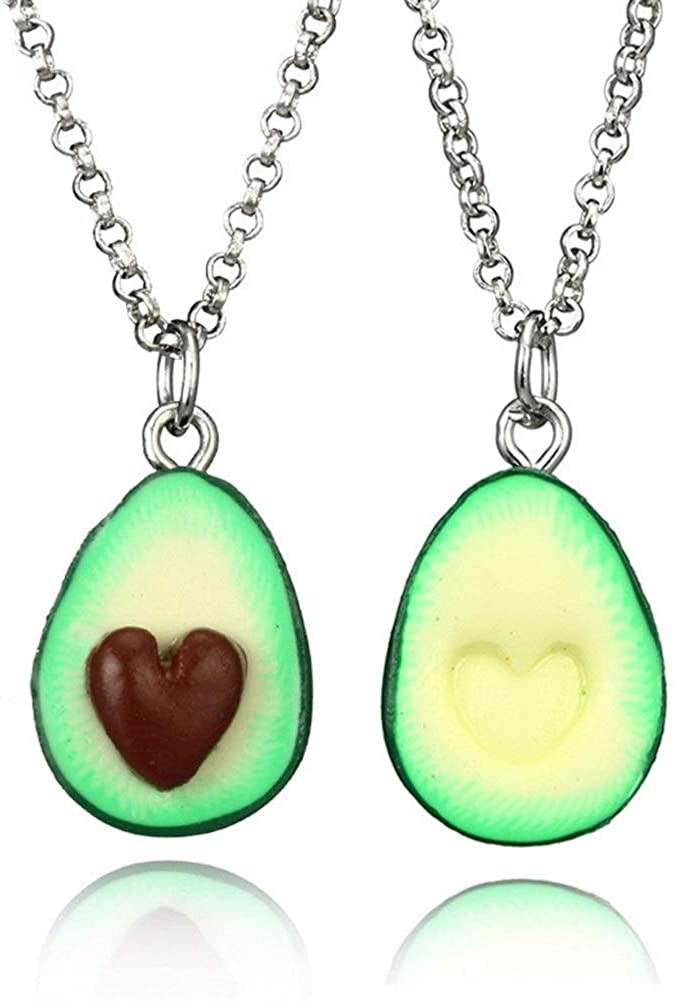 MJartoria BFF Necklaces for 2-Best Friend Necklaces Cute Avocado with Heart Friendship Necklaces Set of 2 (Avocado)