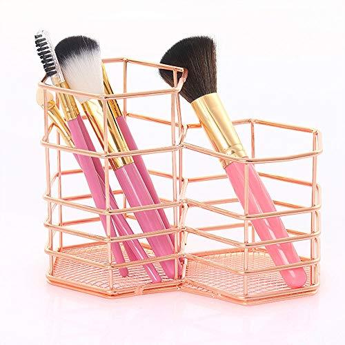 Organizador de brochas de maquillaje de metal con forma de hexágono, para oficina, casa, escuela, clase, etc.