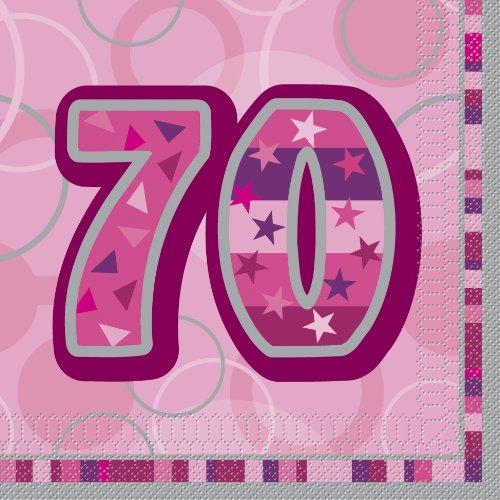 Unique Party 28445 - Rosa Brillante 70° Compleanno Tovaglioni di Carta, Confezione da 16