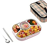 Dzwyc Caja de Almuerzo Infantil - 316 Cajas de bento de Acero Inoxidable, contenedor de Alimentos portátiles 900ml Escuela Primaria Estudiante antisherramientas (Color : C, tamaño : A)