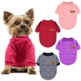 HYLYUN 4 Pieces Small Dog Sweater - Pet Dog Classic Knitwear Sweater Soft Thickening Warm Pup Dogs Shirt Winter Puppy Sweater for Dogs S