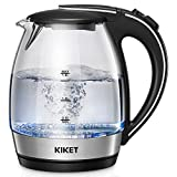 Electric Kettle (BPA free), 1.8L Glass Tea Kettle, Fast Boil Cordless Hot Water Kettle with LED Indicator, Auto Shut-off and Boil Dry Protection