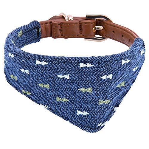 Puppy Collars for Small Dogs - StrawberryEC Adjustable Puppy Id Buckle Collar Leather. Cute Plaid Bandana Dog Collar (Bandana-Navy-Note)