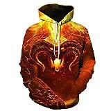 N/V La Nueva Sudadera con Capucha Unisex con Estampado 3D Dazzle Flame Cool Lightweight Pullover Sudaderas con Capucha Bolsillos
