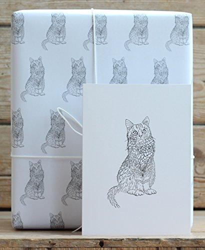 Katze Geschenkpapier mit Tags und eine Karte