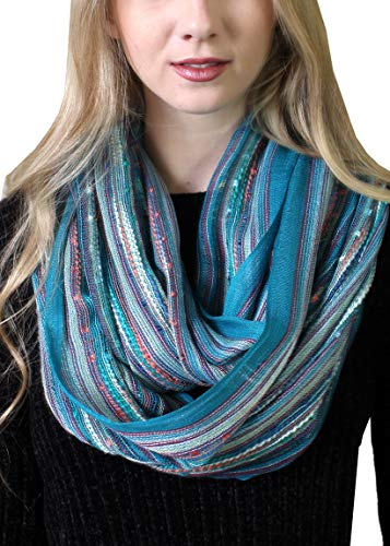 Women's Festival Bliss Shimmer Infinity Scarf, Loop Shawl (Turquoise Bliss)