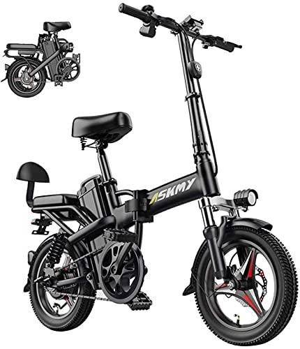 ZMHVOL Ebikes, Bicicleta eléctrica de 14 Pulgadas de la Bicicleta de montaña Plegable de 350W con Asiento Trasero y Freno de Disco con batería de Litio de 48V 25Ah ZDWN (Size : 15AH)
