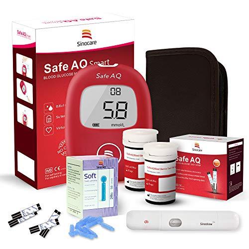 Blutzuckermessgerät Set/Blutzucker-Testkit mit Blutzuckerteststreifen x 50 & schmerzfreie Lanzetten x 50 & Aufbewahrungsbox - mmol/L (Safe AQ Smart)