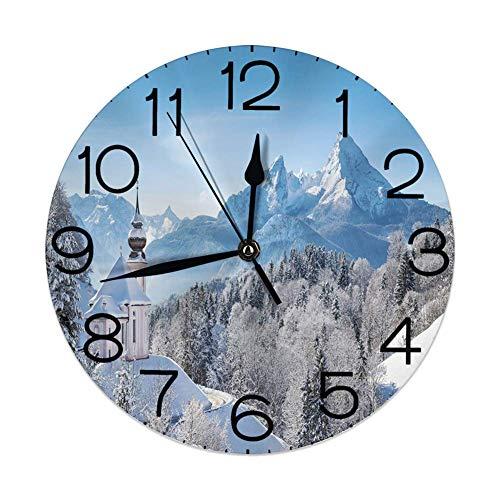 Runde Wanduhr Home Decorative, verschneite bayerische Alpen mit Maria Gern mit berühmten Watzmann-Massivszenen aus Deutschland für Wohnzimmer Büro Schlafzimmer