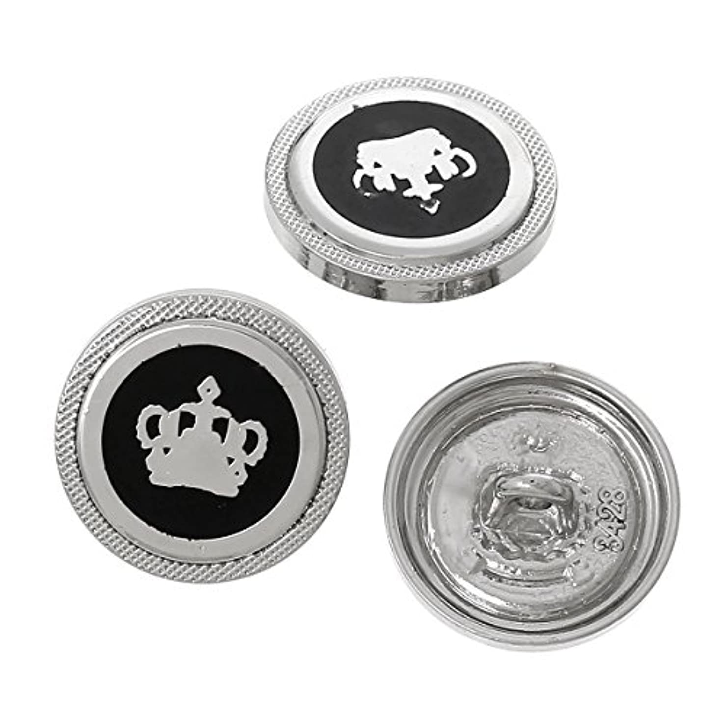 PEPPERLONELY Brand 10PC Silver Tone Enamel Crown Pattern Scrapbooking Metal Sewing Button with Shank 18mm (3/4 Inch) kxd1808848121