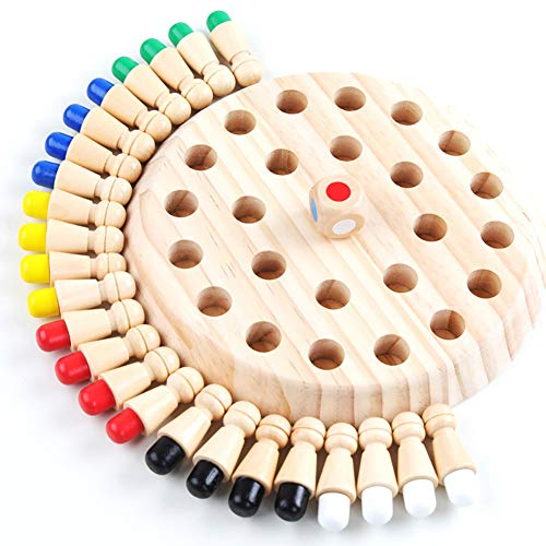 Cozywind Juguetes de Ajedrez de Memoria de Madera, Juegos de Madera Ajedrez para Niños , Juguetes Educativos de Ajedrez con Memoria, Juguetes de tablero de Ajedrez para Niños y Adultos