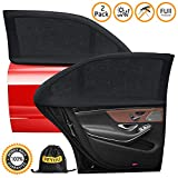 PEMOTech [2 Pack] [2020 Upgraded] Car Window Shades, Universal Car Sun Shades for Baby/Kids Solar/UV Protection Car Rear Side Window Blinds Stretch to Fit Full Protection,Sun Visors