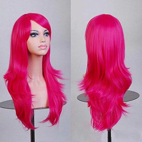 70cm Cosplay Gelockt Harajuku lolita Haar Wig Perücke Halloween Karneval 7005 (magenta)