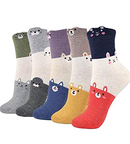 GotYourToes   Womens Teen Girls   Cute Animal Print   Crew Socks   Christmas Stocking Stuffers   5 Pairs (Trio)