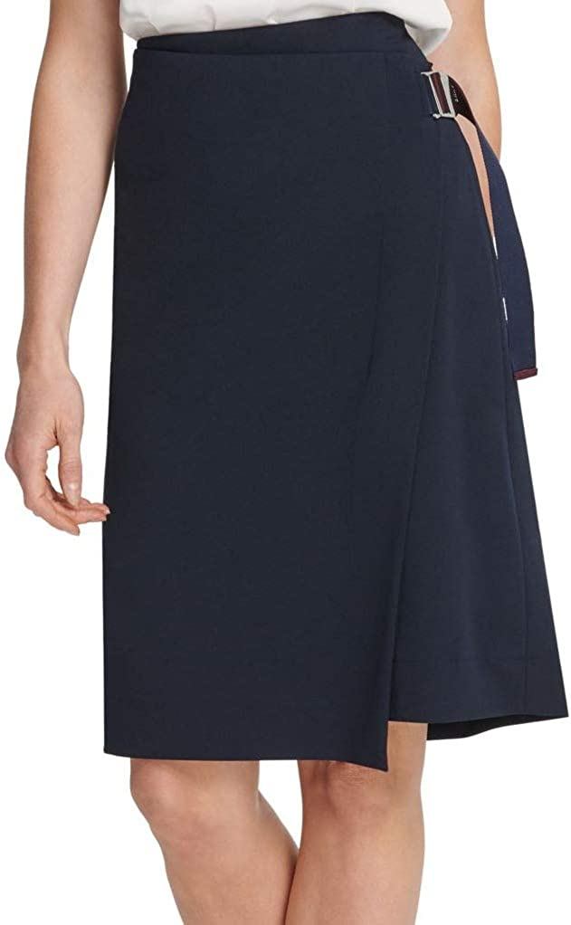 DKNY Womens Navy Belted Knee Length Faux Wrap Wear to Work Skirt Size 10