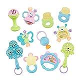 Baby Rassel Beißring Greiflinge Set, Isuper 10- Teiliges Baby Spielzeug mit Beißring, Greiflinge und Handrassel Früherziehungsspielzeug