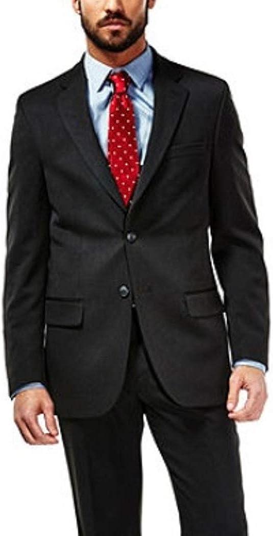 Haggar Mens Travel Performance Classic Fit Suit Coat Blazer Charcoal Pinstripe Jacket