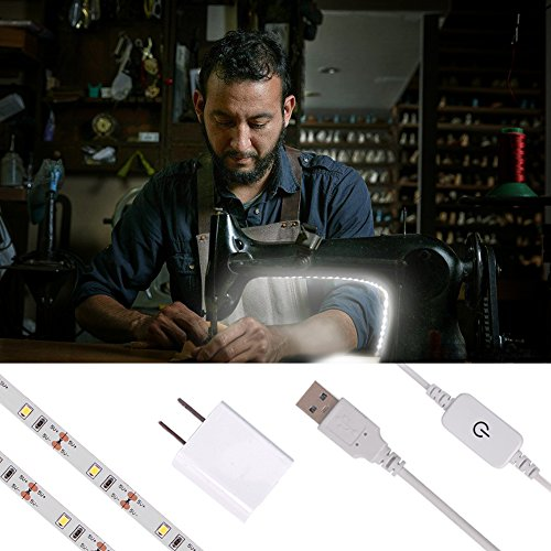 LED Strip Lights for Sewing Machine, 6.6ft Cord with Touch Dimmer Switch,USB Powered, USB Adapter Included, 5pcs Adhesive Wire Clips, Cool White (6000K) 3M Adhesive Tape on Back, Fits All Sewing