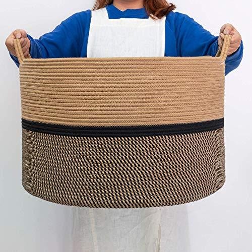 CHICVITA XXL Extra Large Cotton Rope Woven Basket Throw Blanket Storage Basket with Handles Decorative Clothes Hamper - 22 x 22 x 14 Black