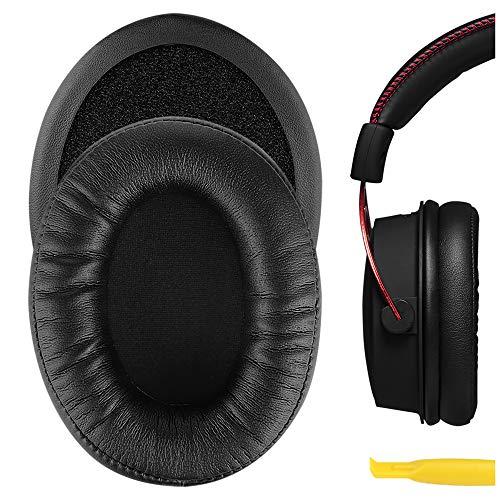 Geekria QuickFit - Almohadillas de piel de proteína para auriculares HyperX Cloud Alpha Gaming de repuesto, almohadillas para orejas, almohadillas para auriculares, fundas para auriculares (negros)