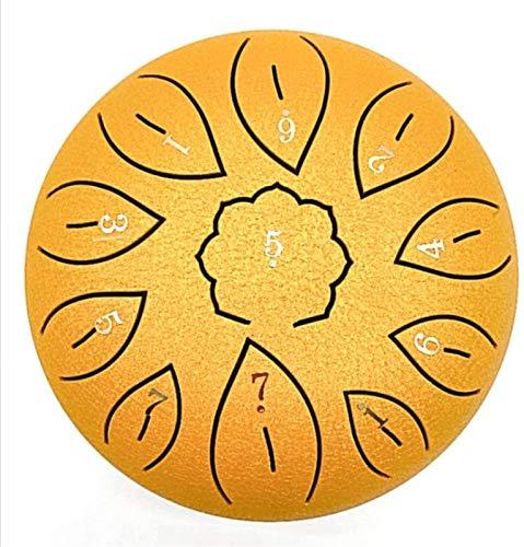 Tambor de la lengua de acero, Tambor de bandeja de instrumentos de percusión, tecla estándar C 11 notas 6 pulgadas de tambor de tambor de tambor de tambor de tambor de tambor con mazos para meditación