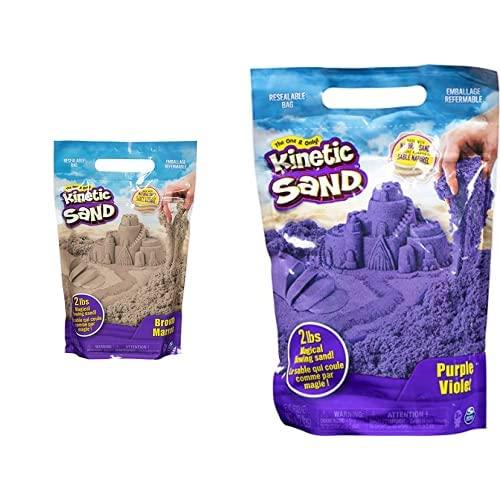 Kinetic Sand The Original Moldable Sensory Play Sand, Brown, 2 Lb & The Original Moldable Sensory Play Sand, Purple, 2 Pounds