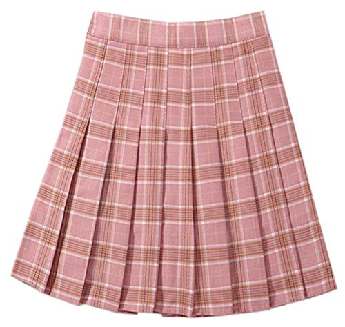 NAWONGSKY Pink Plaid Skirt, Women's Girls Elastic Waist Pleated School Uniform Cosplay Costume Skirt, Pink Plaid, Tag L = US M