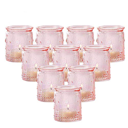 Kate Aspen Tea Light Holder, Vintage Pink Glass Tealight Candle Holders, Perfect Favors Decoration fpr Wedding, Bachelorette, Bridal Shower - (6 Sets of 4, 24 Pieces)