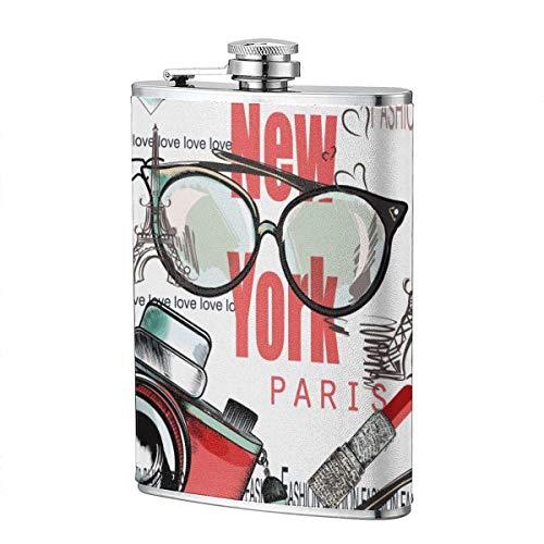 XBYC Trinkflaschen für Alkohol, Fashion Vector Pattern Lippenstift, Kamera, Brille, Worte New York 8 Unzen Edelstahl Flachmann für Alkohol für Männer