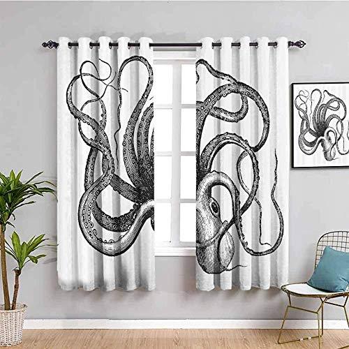 Nileco Cortinas Opacas Termicas - Blanco y negro simple animal calamar. - 140x160 cm - Cortinas del Dormitorio de la Habitación de los Niños - 3D Impresión Digital con Ojales Aislamiento Térmico