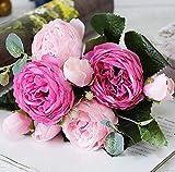 3 Ramo Rosa peonia Artificial Flores de Seda Artificiales decoración Ramo Novia Boda hogar jardín 15 años Bautizo (Rosa Combinado)