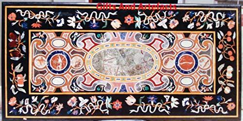 Gifts and Artefakte Handarbeit Marmor Konferenztisch-Einsatz Halbedelsteine, geometrische Kunst indisches Landhauskunst, 91,4 x 182,9 cm