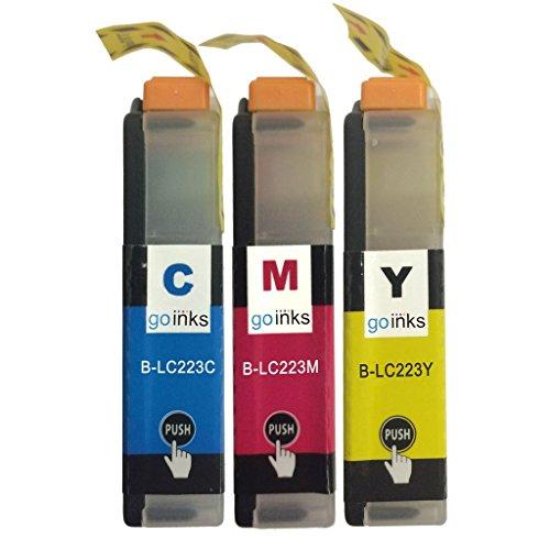 1 Go Ink C/M/Y Set di 3 cartucce d'inchiostro per sostituire Brother LC223 C/M/Y compatibili/non OEM per stampanti Brother DCP e MFC (3 inchiostri), capacità standard