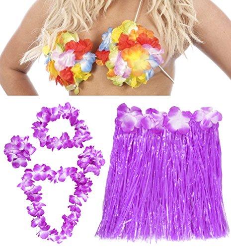 Hawaiian Fancy Kleid Zubehör Kostüm-Set Ilovefancydress® Farbige Hula Rock + farblich passendem 2straffen 4Stück Lei Set + Hawaiian Flower BH
