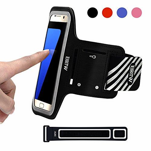 EOTW Sportarmband Handyhülle universell kompatibel mit Samsung Galaxy S7/S6/S5, Ideal für Sport, Freizeit Aber Auch in der Arbeit praktisch zu Verwenden (5,1 Zoll, Schwarz)